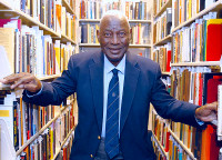 Charles Blockson in the stacks at Paley Library