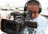Student using video camera