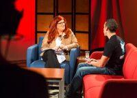 Host Lisa Bien, left, speaks with guest Mark Moore